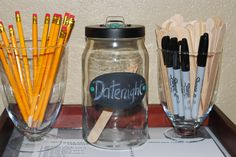 Bridal shower games, Date night jar. Everyone writes date night ideas on the popsicle stick and drops them in the jar to be opened again and again after the wedding.