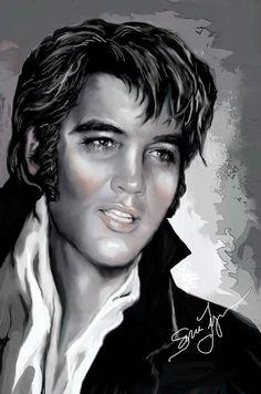Elvis art by Sara Lynn Sanders. Lisa Marie sure looks a lot like him. James Dean, Tarzan, John Lennon, Elvis Presley Photos, Lisa Marie Presley, King Of Music, Portraits, Graceland, Classic Rock