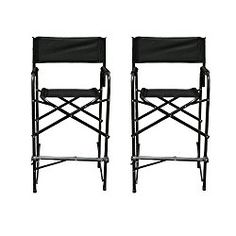 Impact Canopy Director's Chair, Tall Folding Director's Chair, Heavy Duty, Set of 2 Aluminum Frame Chairs, 47 inch, Black