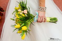 Sweet tulip and billy ball bouquet for the sweet bride #Disney #wedding #bouquet