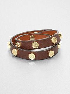 Tory Burch Double Wrap Leather Bracelet