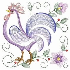 Rippled Rooster and Hen 5 - 3 Sizes! | What's New | Machine Embroidery Designs | SWAKembroidery.com Ace Points Embroidery