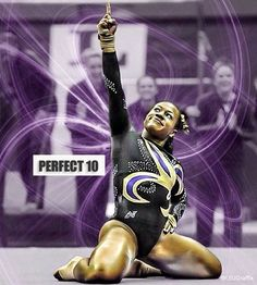 Lloimincia Hall is the junior on Louisiana State University's gymnastics team who can't stop scoring perfect on her amazing floor routine. The LSU powerho . Lsu Gymnastics, Gymnastics Posters, Gymnastics Pictures, Black Gymnast, Female Gymnast, Louisiana State University, Best Flooring, Perfect 10, Lsu Tigers