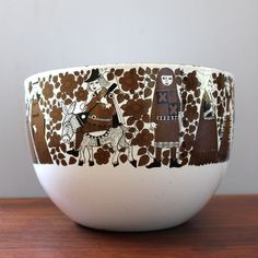 """This enamel Kaj Frank Ritari bowl was embellished in the late by Esteri Tomula and manufactured by Finel. Ringed by """"Maidens and Minstrels"""", I find this piece to be a wonderful example of Scandinavian mid century modern design. Good To Great, Mid Century Modern Design, Mid-century Modern, Scandinavian, Enamel, Vintage, Retro, Simple, Tableware"""