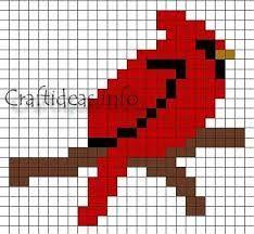 Red cardinal bird crochet c2c Afghan pattern graph