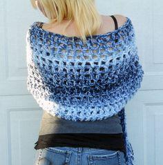 Ocean waves crochet shawl wrap scarf by ValkinThreads on Etsy, $58.00