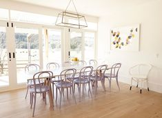Sawhorse Dining Table - Eclectic - dining room - The Grace Tales Purple Dining Chairs, Table And Chairs, Desk Chair Teen, Casual Dining Rooms, Light Hardwood Floors, Bentwood Chairs, Bistro Chairs, Dining Room Inspiration, Dinning Table