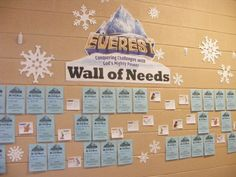 "Great idea! Create a wall of needs to fulfill all VBS needs! Pinner says: people in the congregation look forward to choosing a ""need"" to pull off the wall and then return with their financial donation. Underneath each Needs Slip is a small thank you slip from all the different Everest Buddies. On the first Sunday, had over $500.00 donated... This is our third year and we always cover all our expenses which helps us to continue offering VBS for FREE!"