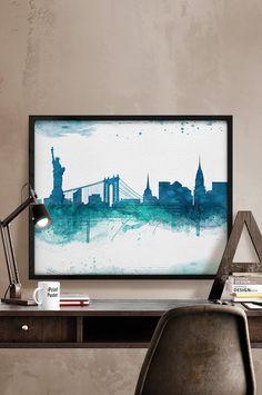 New York, Watercolor, Art Print, New York poster, Art, City Illustration, Wall art, Artwork, New York watercolor, Home Decor, iPrintPoster.  Art