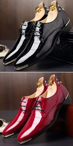 Big Size Men British Style Microfiber Leather Pointed Toe Rivet Formal Shoes