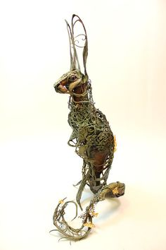 The Curiosity of Laurices I - original handmade OOAK clay art sculpture (Creatures from El - etsy) Animal Sculptures, Sculpture Art, Ellen Jewett, Year Of The Rabbit, Animal Projects, Polymer Clay Art, Wire Art, Macabre, Fantasy Art