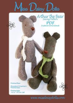 Arthur the Bear sewing pattern available for instant download from Craftsy