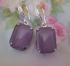 Purple Earrings Lavender Glass Earrings by EarCandyConfections, $19.00
