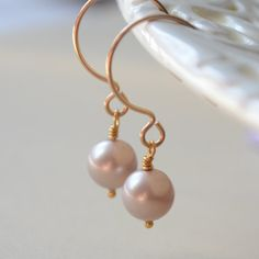 NEW Taupe Pearl Earrings Swarovski Pearl Powder by LivEveryDay, $18.00