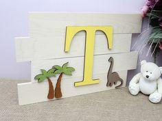 Dinosaur Nursery Art, Personalized Wood Name Sign, Pallet Signs, Dino Nursery Decor, Large Wood Letters, Above the Crib Nursery Decor