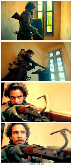 """Aramis + his musket, holding assassins at bay at the convent. """"Knight Takes Queen""""; Episode 9, Season 1, The Musketeers."""