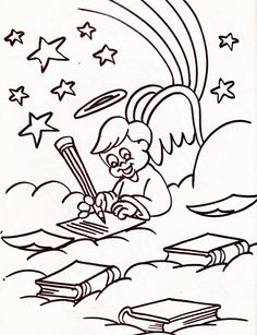from an Angel's coloring book - boy angel writing in the clouds