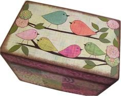 Wishes for Baby Box, Holds Wishes Cards, Decorative, Baby Shower, Childrens… Painted Boxes, Wooden Boxes, Painting On Wood, Tole Painting, Owl Food, Crafts To Make, Diy Crafts, Decoupage Box, Baby Box