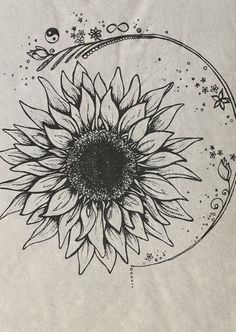 I love everything about this as a tatoo Tatoo Art, Body Art Tattoos, Tattoo Drawings, New Tattoos, Cute Foot Tattoos, Sunflower Drawing, Sunflower Tattoos, Sunflower Art, Sunflower Design