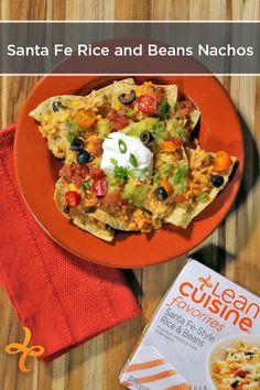 Top tortilla chips with your Lean Cuisine Santa Fe-Style Rice & Beans, black olives, tomatoes, and sliced scallions to create shareable Santa Fe Nachos. Don't forget the guacamole and sour cream!