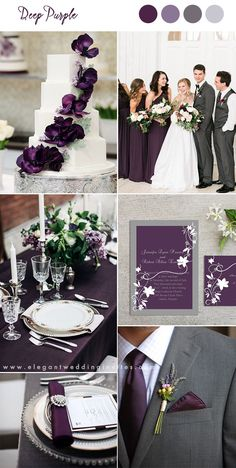 deep purple and gray classic wedding ideas wedding colors 10 Pretty Shades of Purple Wedding Color Combos Wedding Color Combinations, Fall Wedding Colors, Wedding Color Schemes, Color Combos, Dark Purple Wedding, Plum Wedding Decor, Purple Wedding Themes, Wedding Ideas For Fall, Plum Wedding Centerpieces