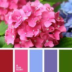 """""""пыльный"""" розовый, голубой и нежный зеленый, красно-розовый, лиловый цвет, нежный фиолетовый, оттенки лилового, палитра для ремонта, розовый, салатовый, тёмно-зелёный, фиолетовый, цвет зелени, цвет зеленых листьев, цвет фуксии, яркий розовый."""