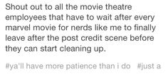 I work at a movie theater and although I'm usually not an usher this is so relevant