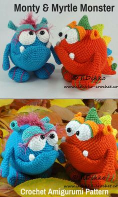 Monty & Myrtle Monster are just a little bit scary crocheted amigurumi dolls that would love to hang around your house. You can create your own Monty & Myrtle Monster with this downloadable pattern. #crochet #amigurumi #crochetdoll #ad #amigurumidoll #amigurumipattern #monster #instantdownload