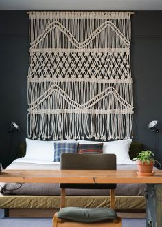 7' x 6'. Cotton cord. 2013. Headboard created for room 404 in ACE Hotel, Portland, Oregon.