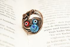 copper wire with murano glass  ring wire wrapped by BeyhanAkman, $19.00