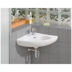 Cheviot Small Wall Mount Corner Bathroom Sink   Single Faucet Drilling