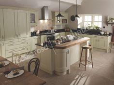 Alabaster and Sage painted shaker style fitted kitchen designed, manufactured and installed by Paula Rosa Manhattan.