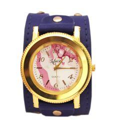 Relógio Azul Bic Pintado à mão, personalizado, dourado pulseira couro
