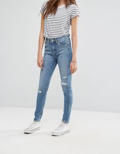 Levi's Altered 721 High Waisted Skinny Jean with Abrasions