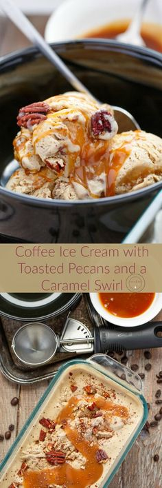 Coffee Ice Cream with Toasted Pecans and a Caramel Swirl | http://thecookiewriter.com | @thecookiewriter | #icecream (ad) | Homemade ice cream is the way to go, and this coffee ice cream uses ground coffee beans to get the perfect flavour!