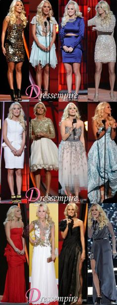 Carrie Underwood makes 12 outfit changes at the 2012 46th Annual CMA Awards.