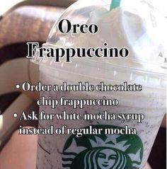 DIY Oreo Frappuccino at starbucks Starbucks Secret Menu Items, Starbucks Hacks, Starbucks Secret Menu Drinks, How To Order Starbucks, Special Starbucks Drinks, Starbucks Oreo Frappuccino, Iced Starbucks Drinks, Starbucks Coffee, Coffee Drinks