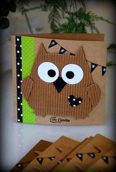 Baby Crafts, Preschool Crafts, Crafts For Kids, Kids Birthday Cards, Diy Birthday, Owl Invitations, Bricolage Halloween, Sewing Art, Card Making Inspiration