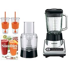 Cuisinart PowerBlend Duet BlenderFood Processor BFP10CH w Bundle Includes Pat Crocker The Smoothies Bible Paperback  2x Copco Eco First Tumbler 24Oz Togo Cup Mug  Orange