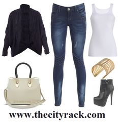 This winter, a black knit cardigan is your style staple. It'll keep you warm, go with every outfit in your wardrobe, and look stylish and chic on a cold day out. For a casual yet smart look pop on some hot skinny jeans, some sky-high heels boots and a celebrity-inspired cream hand bag with gold detailing.