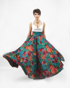 Maxi Skirt  Long Skirt Floor length skirt Floral skirt by FatBerry, $73.00