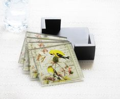 NOTIONS GOLDEN FINCH SET OF 4 COASTERS W/ CADDY