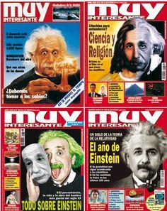 Albert Einstein ha sido quien ha protagonizado más portadas de Muy Interesante en sus más de 30 años de vida. Aquí tienes algunas. Si pinchas en la foto hay muchas más.