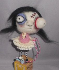 Wendy and her WORM  needle felted ZOMBIE art by papermoongallery, $59.00