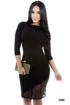 """Our LBD just got """"Laced"""". Our """"Lisha"""" dress is PERFECT for a night out during this Holiday season. Pair with your fave pumps and one of our Statement Necklaces to complete your look!"""