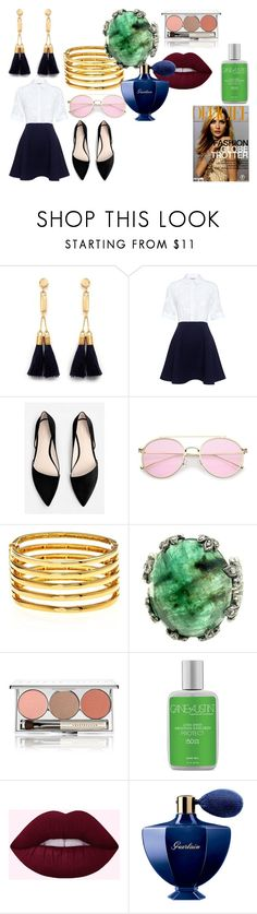 """Georgina Grenville"" by de-garbelini ❤ liked on Polyvore featuring Chloé, Paul & Joe Sister, MANGO, Kenneth Jay Lane, Chantecaille, Cane + Austin and Guerlain"