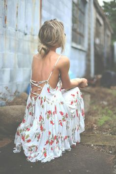 DIY : Want to cut a V in a thrift store dress then collect it together with string of some sort.
