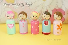 Tessie Fay: Hand Painted Peg People (Martha Stewart acrylic paint set)