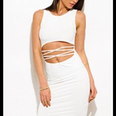 I just discovered this while shopping on Poshmark: crisscross MIDI dress ..keep it classy yet sexy. Check it out!  Size: Various