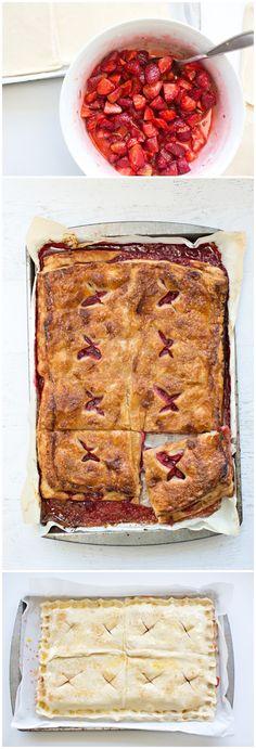 This easy Strawberry Pie Slab Recipe tastes like summer! Easy yummy fruit pie recipe.